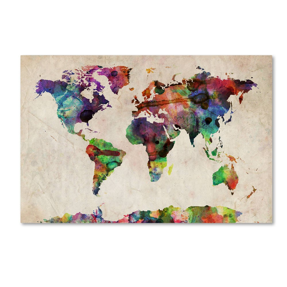 22 34 X 32 34 Urban Watercolor World Map By Michael Tompsett Trademark Fine Art