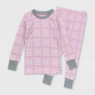 Honest Baby Toddler Girls' Square Print Snug Fit Pajama Set - Purple