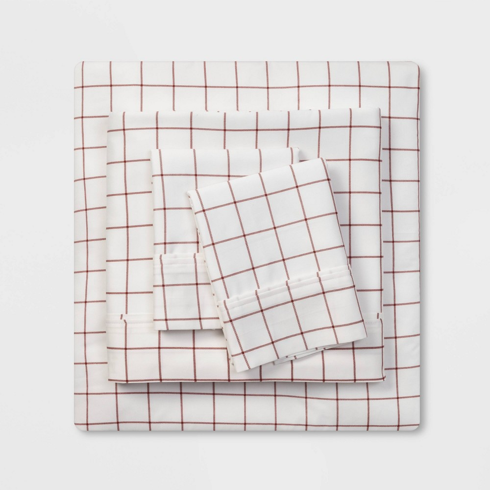 Full 400 Thread Count Holiday Print Cotton Performance Sheet Set Red Windowpane Threshold 8482