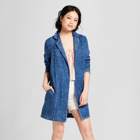 Women's Gauze Open Blazer - Universal Thread™ Blue - image 1 of 3