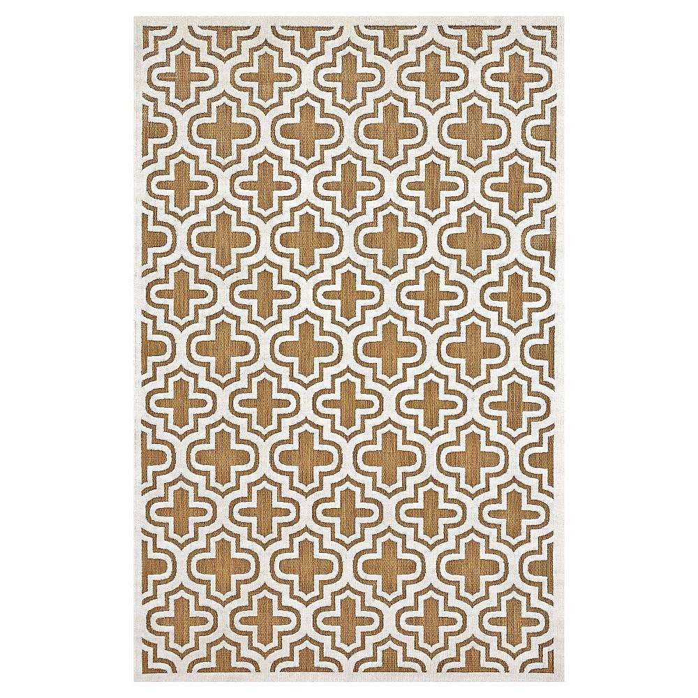 5'X7'6 Quatrefoil Design Loomed Area Rugs Tan/Cotton - Room Envy