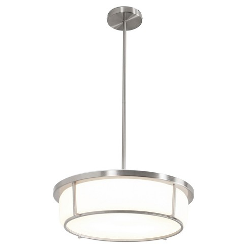 Smart 1-Light LED Pendant with Opal Glass Shade - Satin Nickel - Rogue Décor - image 1 of 3