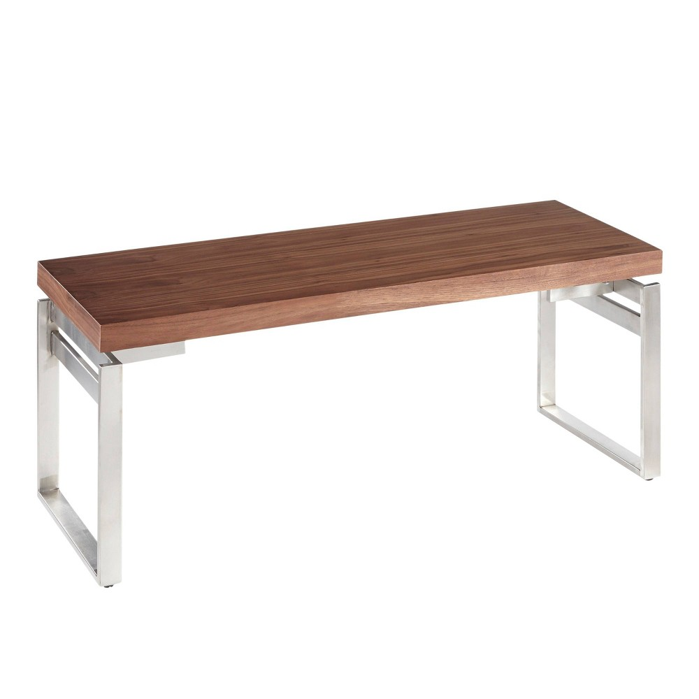 Drift Industrial Bench Stainless Steel Silver/Walnut (Stainless Steel Silver/Brown) - Lumisource