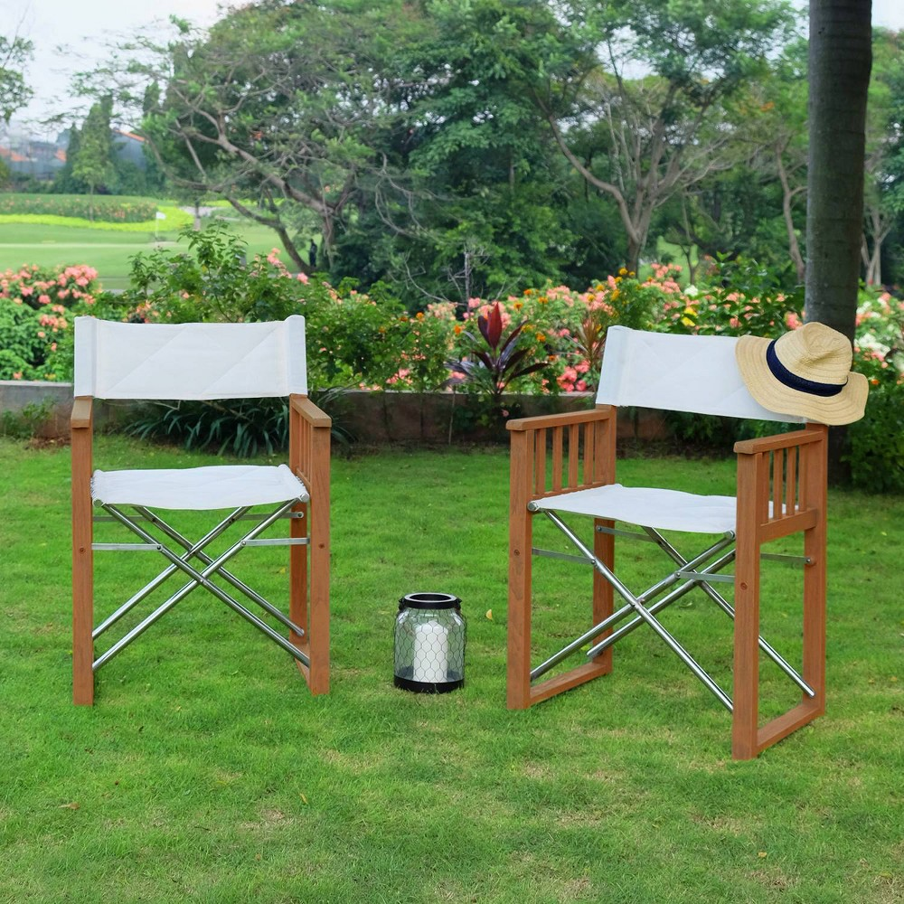 Image of 2pk Teak Westport Folding Director Chairs - Cambridge Casual