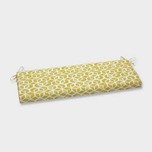 Celtic Pineapple Outdoor Bench Cushion Yellow - Pillow Perfect - image 1 of 1
