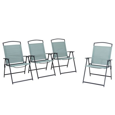 4pc Patio Folding Chairs - Green - Crestlive Products