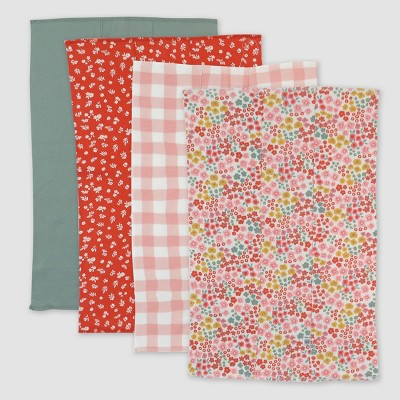Honest Baby Girls' 4pk Organic Cotton Meadow Floral Woven Burp Cloth - Pink