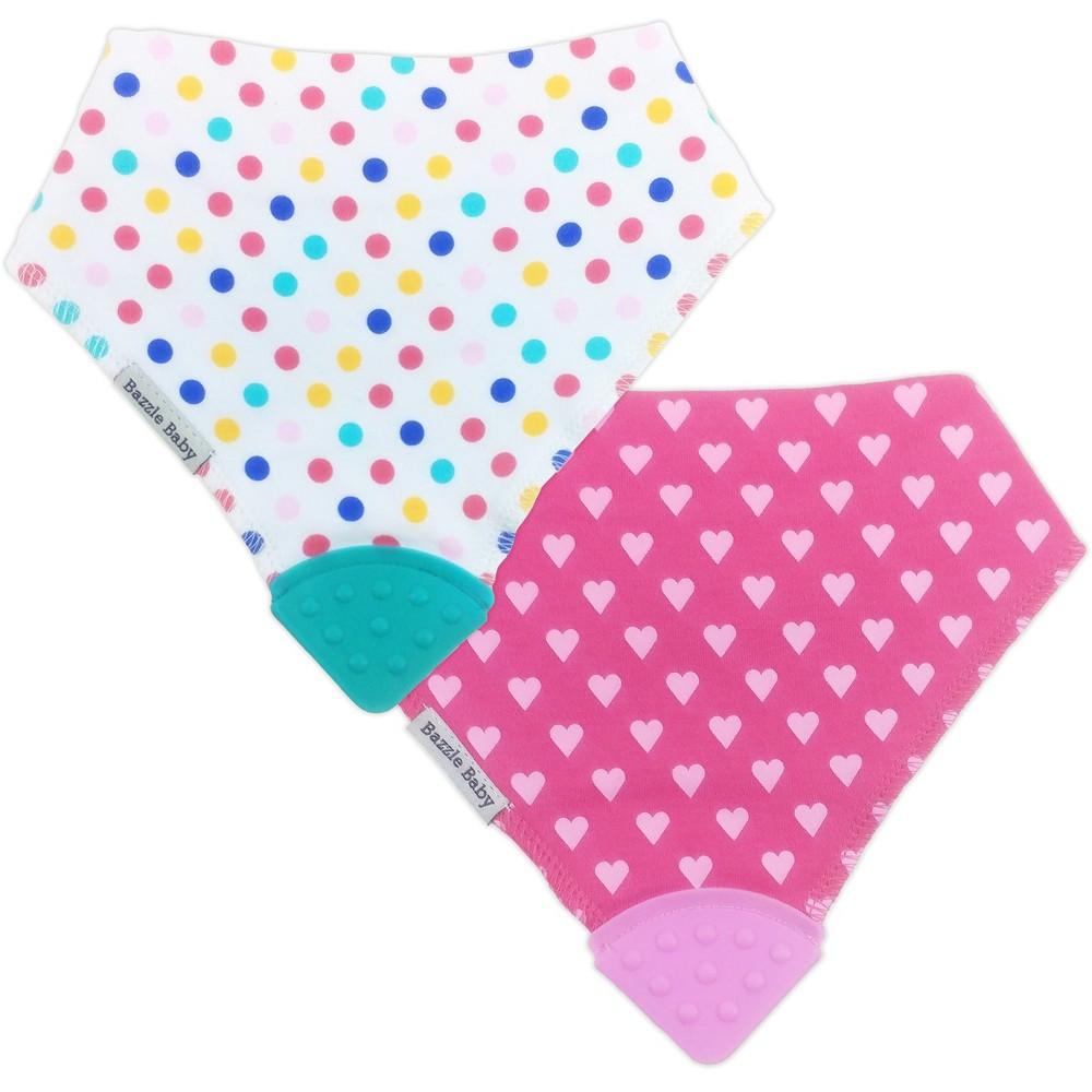 Image of Bazzle Baby Banda Bib Teether Set Dots & Hearts - 2pk