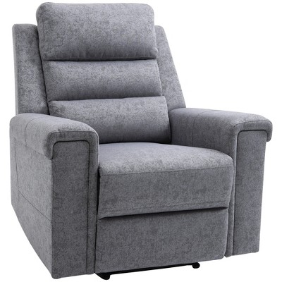 HomCom Modern Rocker Recliner Chair Linen Fabric Single Sofa Home Theater Seating with Overstuffed Armrest and Back Grey