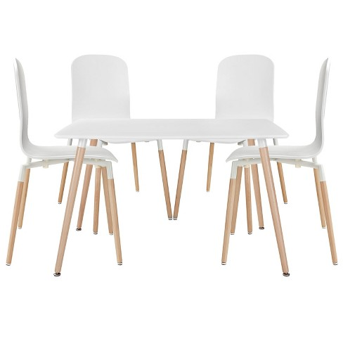 Stack Dining Chairs and Table Wood Set of 5 White - Modway - image 1 of 7