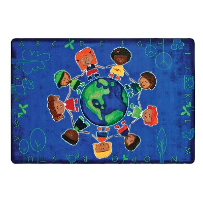 "3'10""x5'5"" Rectangle Woven Nylon Area Rug Blue - Carpets For Kids"