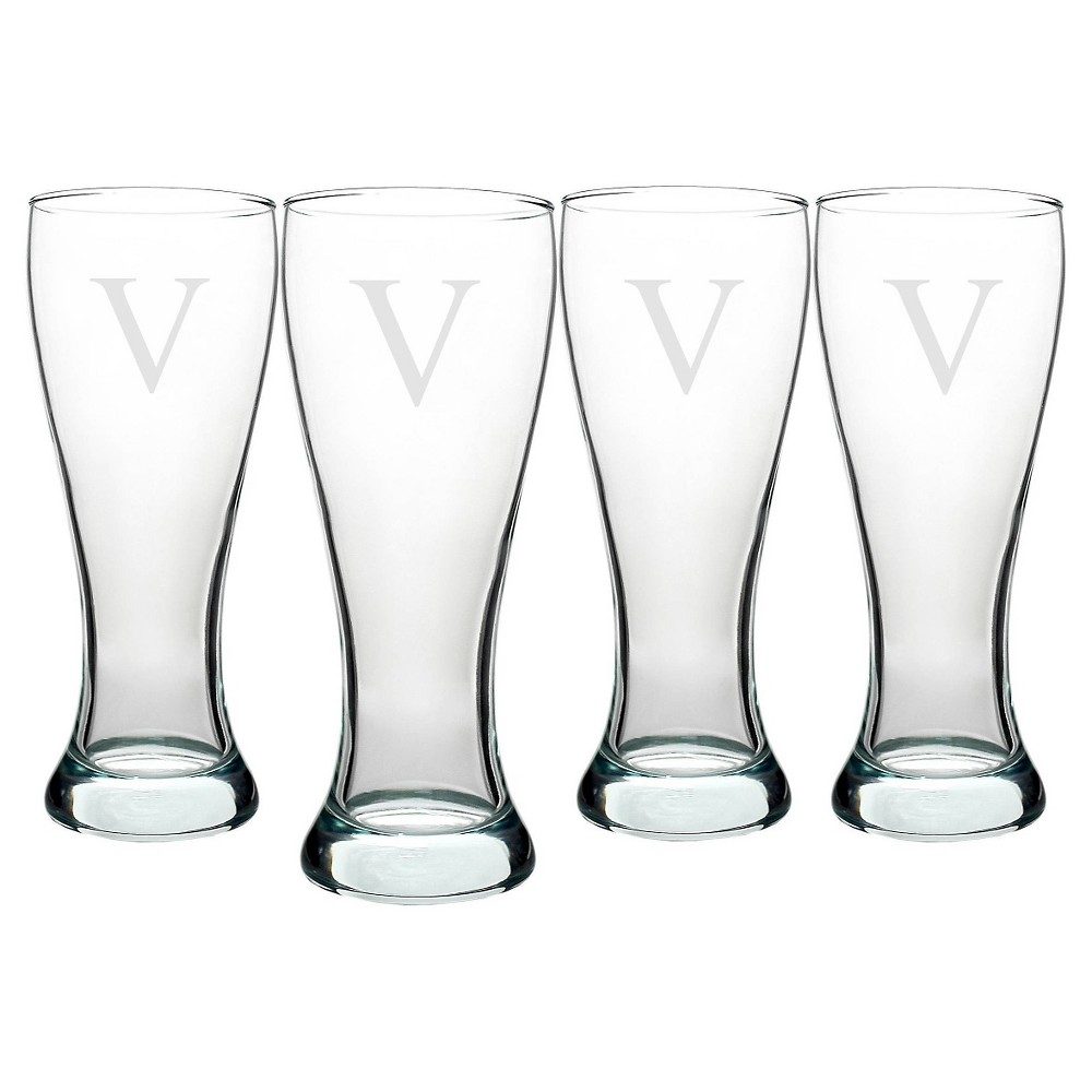 Cathy's Concepts 20oz Personalized Pilsner Glass Set - V - Set of 4, Clear