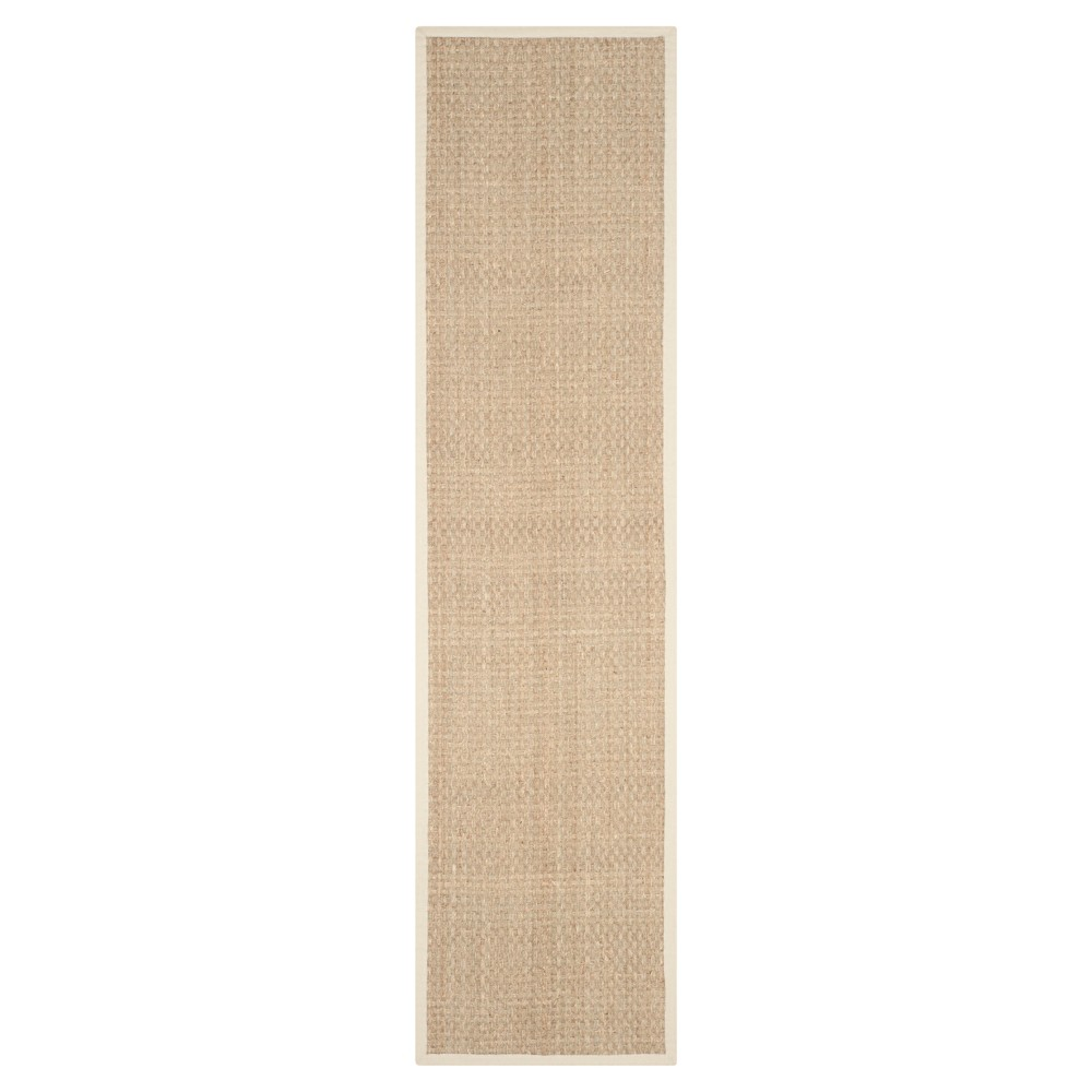 2'6X10' Basket Weave Runner Natural/Ivory - Safavieh