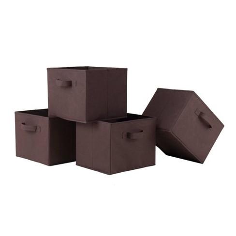 Set of 4 Capri Foldable Fabric Baskets Chocolate - Winsome - image 1 of 3