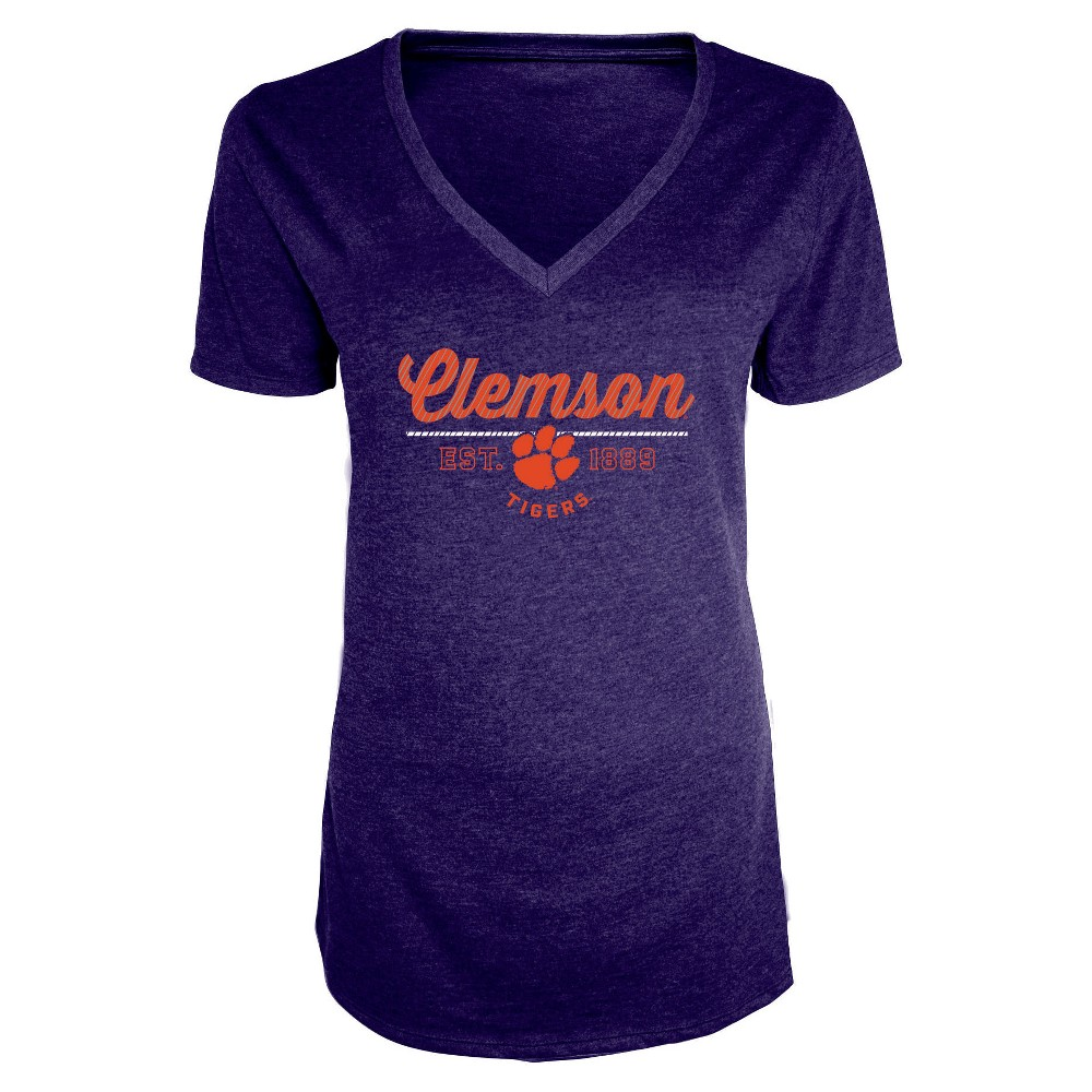 NCAA Women's Bright Spot V-Neck Bi-Blend T-Shirt Clemson Tigers - M, Multicolored
