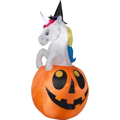 Gemmy Airblown Unicorn w/Colorchanging Horn out of Pumpkin Scene (RGB), 5 ft Tall, Multicolored