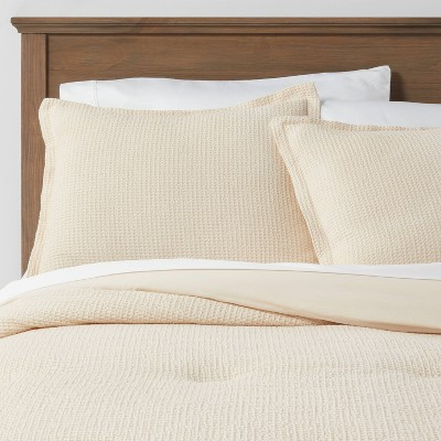 Full/Queen Washed Waffle Weave Comforter & Sham Set Natural - Threshold™