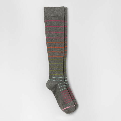 Women's Dr. Motion Mild Compression Knee High Socks - Pinstripe - Gray Heather 4-10 - image 1 of 2