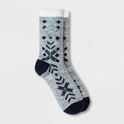 Women's Geo Double Lined Cozy Crew Socks - A New Day™ Heather Gray 4-10