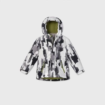 Toddler Boys' Geometric Print 3-in-1 Jacket - Cat & Jack™ Black/Gray/White 4T