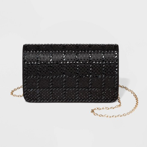 Estee & Lilly Tonal Crystal Flap Clutch - Black - image 1 of 3