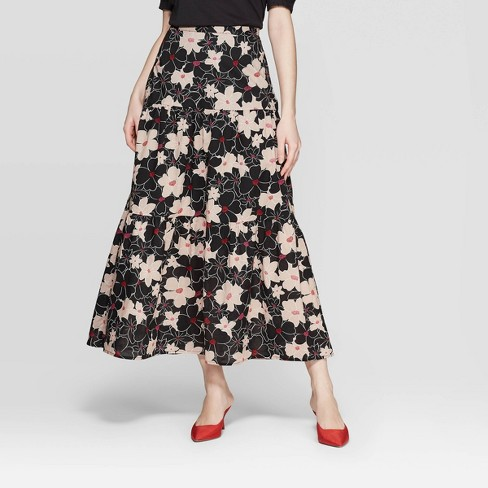 89ddc7dd5176 Women's Floral Print Mid-Rise Tiered A Line Maxi Skirt - Who What Wear™  Black : Target