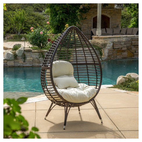 Cutter Teardrop Wicker Patio Lounge Chair With Cushion Brown