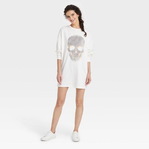 Women's Skull Long Sleeve Graphic Sweatshirt Dress - White - image 1 of 2