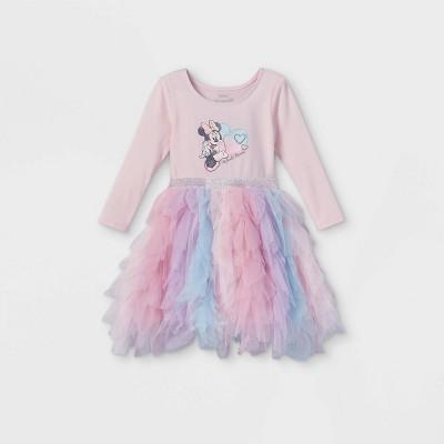 Toddler Girls' Disney Minnie Mouse Elsa Long Sleeve Tutu Dress - Light Pink