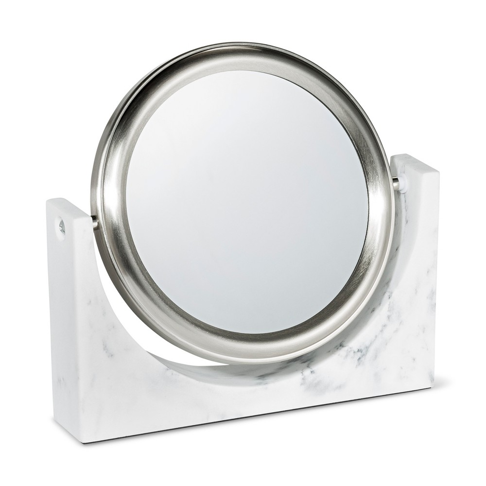 Image of Faux Marble Makeup Mirror White - 88 Main