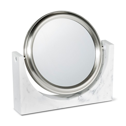 Faux Marble Makeup Mirror White - 88 Main - image 1 of 2