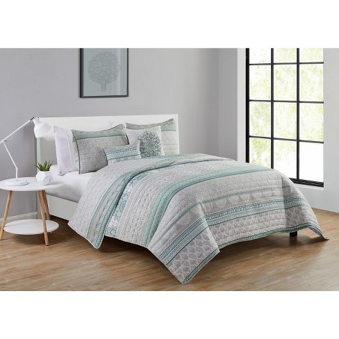 Vcny Home Mateo Sage Green Medallion, Sage Green And Gray Bedding
