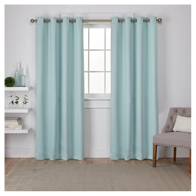 "Set of 2 Sateen Twill Weave Insulated Blackout Grommet Top Window Curtain Panels Seafoam (52 X 108"")- Exclusive Home"