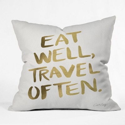 Cat Coquillette Eat Well Travel Often Square Throw Pillow Gold - Deny Designs