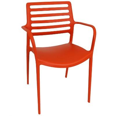 Sunnydaze Plastic All-Weather Commercial-Grade Astana Indoor/Outdoor Patio Dining Arm Chair, Orange