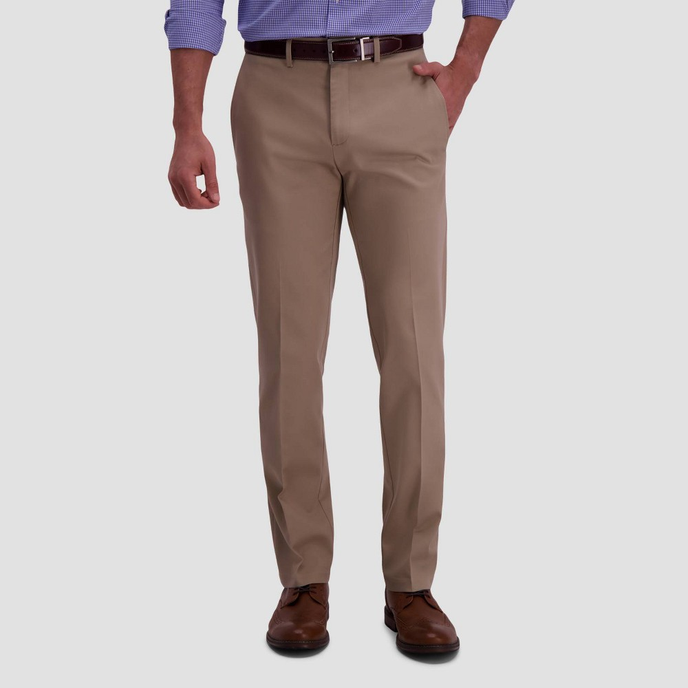 Haggar Men 39 S Premium No Iron Straight Fit Flat Front Casual Pants Khaki 40x32