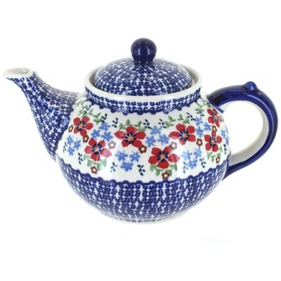 Blue Rose Polish Pottery Red Poppy Teapot