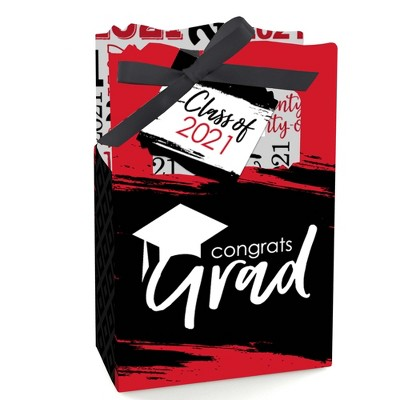 Big Dot of Happiness Red Grad - Best is Yet to Come - Red 2021 Graduation Party Favor Boxes - Set of 12