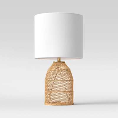 Rattan Diagonal Weave Table Lamp (Includes LED Light Bulb)Tan - Opalhouse™