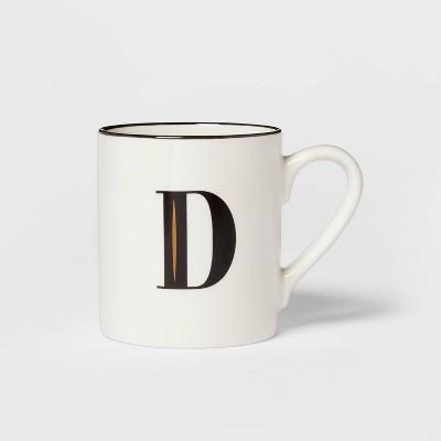 16oz Stoneware Monogram D Mug White - Threshold™