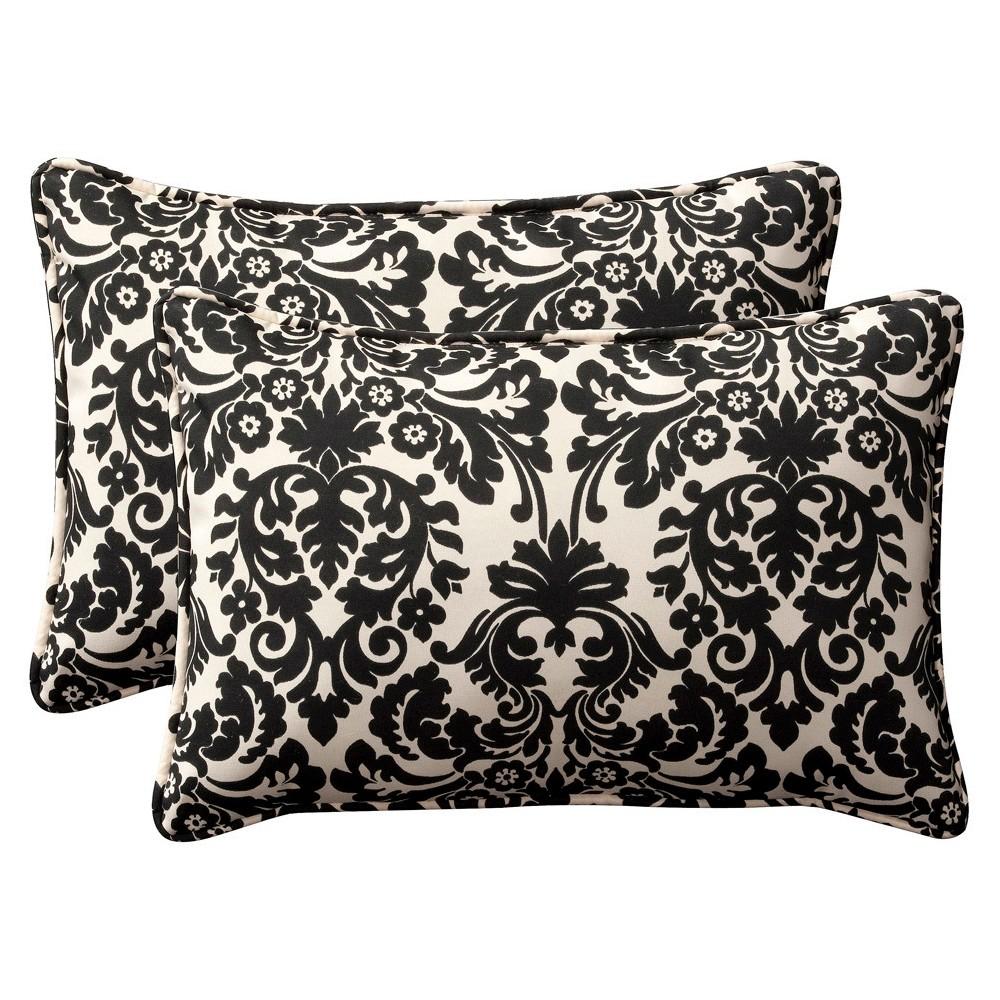2 Piece Outdoor Toss Pillow Set Black Cream Floral 24