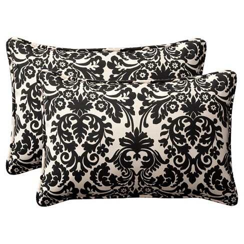 2 Piece Outdoor Toss Pillow Set Black Cream Floral 24 Target