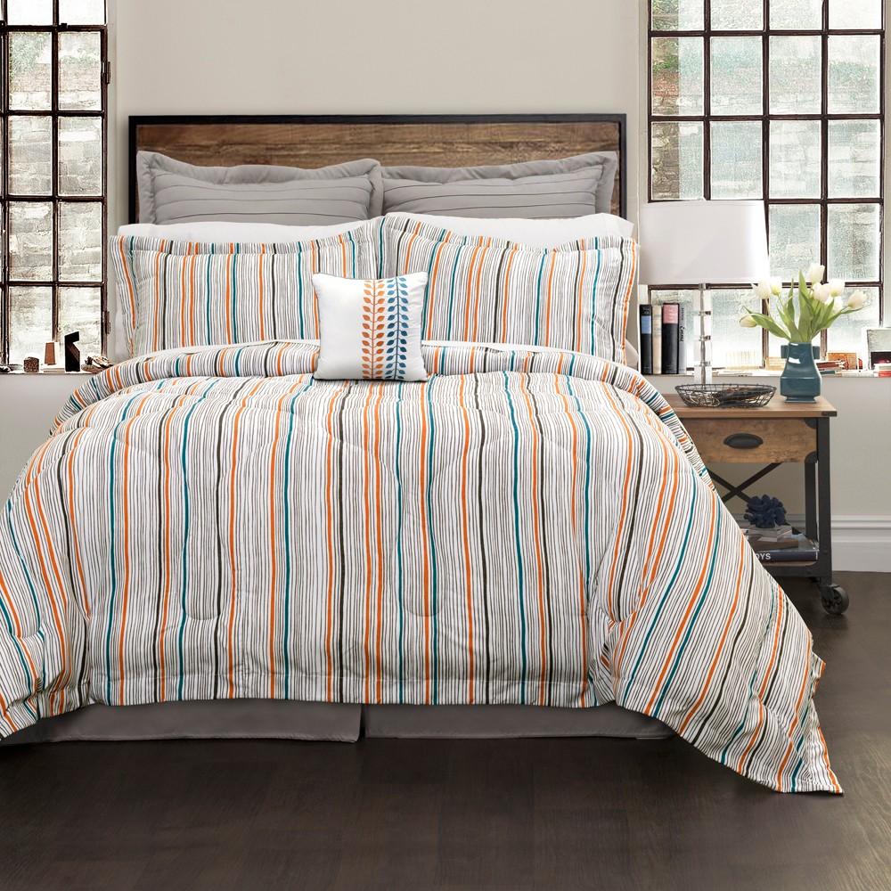 Orange & Blue Abby Comforter Set (King) 6pc - Lush Decor