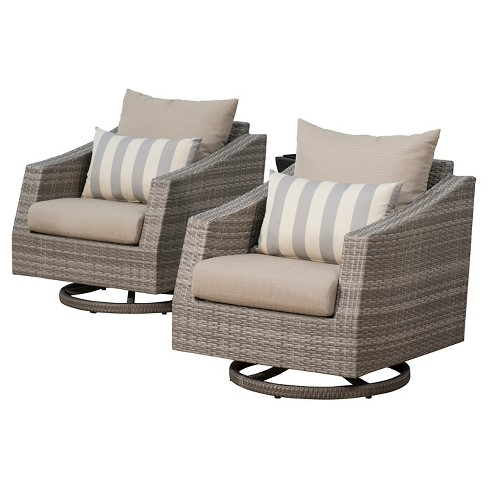 RST Brands Cannes 2 Piece of Woven Motion Club Chairs with Cushions - image 1 of 7