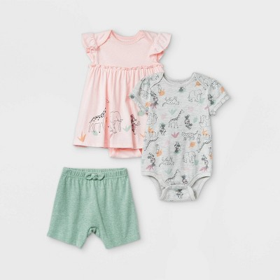 Baby Girls' 3pk Minnie Mouse Top and Bottom Set - Pink