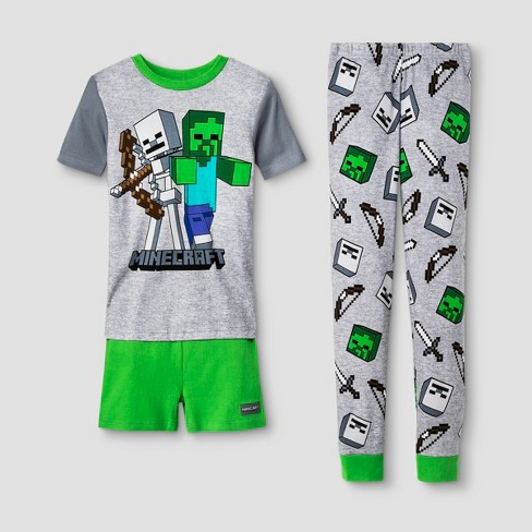 Boys' Minecraft 3pc Pajama Set - Gray - image 1 of 1