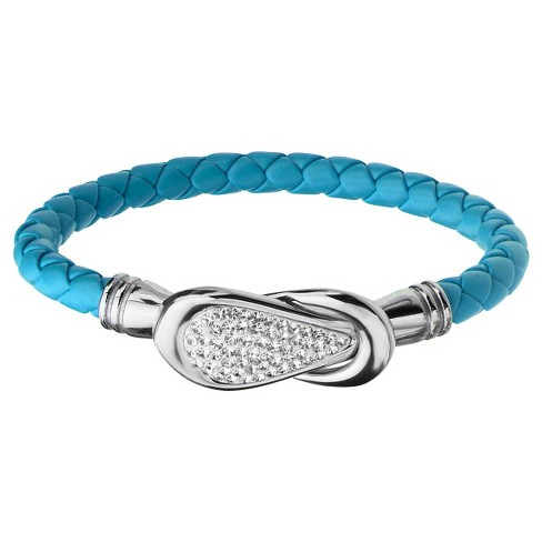 "Women's Steel Art Turquoise Italian Leather Bracelet with Preciosa Crystals Magnetic Closure (7.25"") - image 1 of 1"