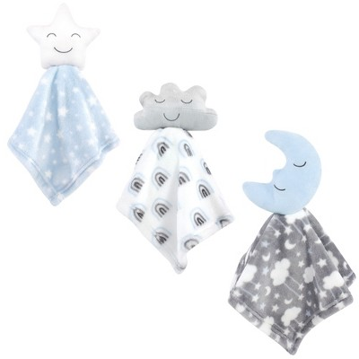 Hudson Baby Infant Boy Animal Face Security Blanket, Star Moon, One Size
