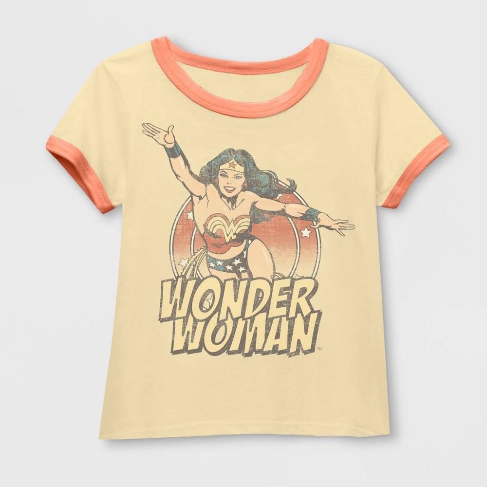 Toddler Girls Wonder Woman Short Sleeve Ringer Graphic T-Shirt - Light Yellow 4T Top