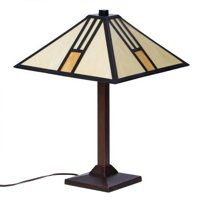 "18"" x 18"" x 25"" Elinpelin Bronze Metal and Glass Table Lamp Beige/Brown - Warehouse of Tiffany"